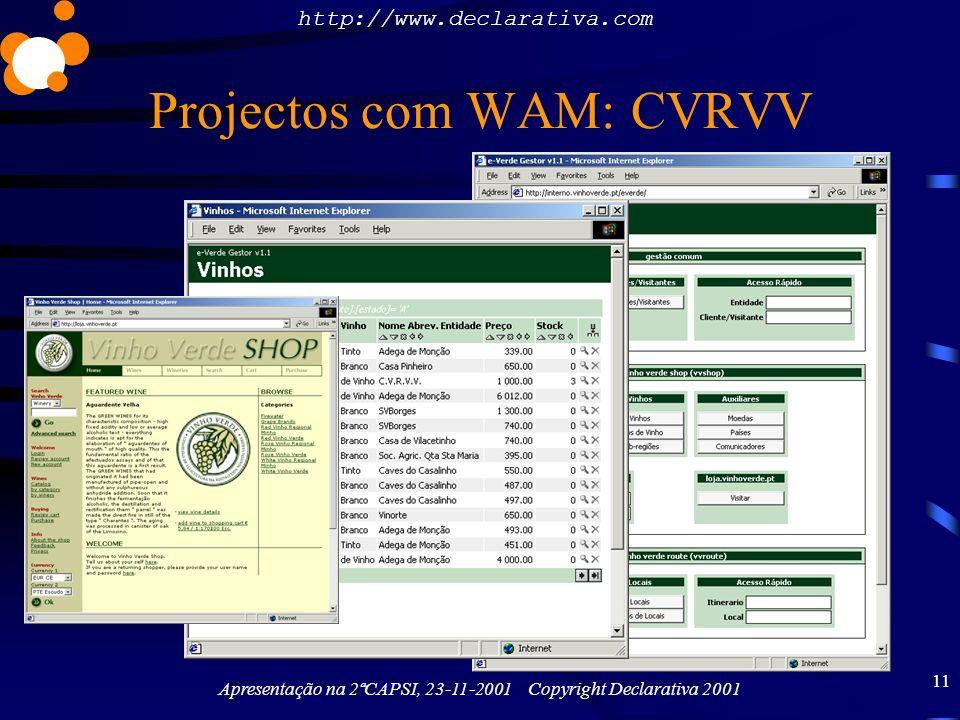 http://www.declarativa.com Apresentação na 2ªCAPSI, 23-11-2001 Copyright Declarativa 2001 11 Projectos com WAM: CVRVV