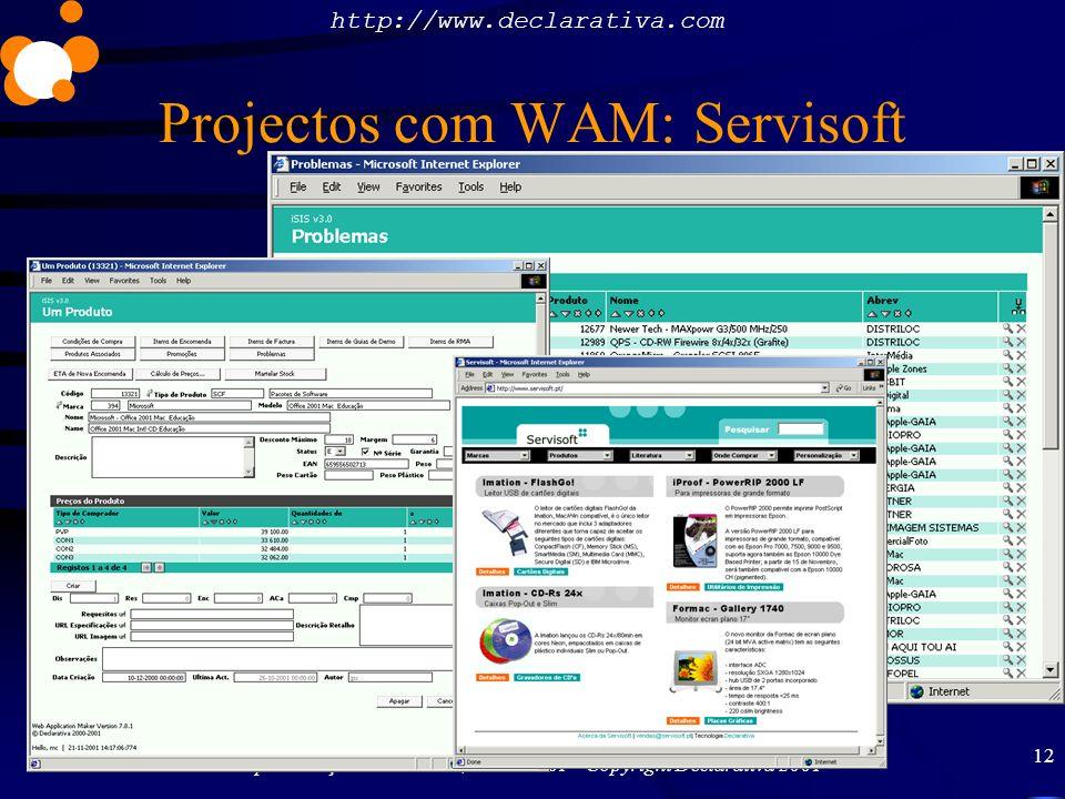 http://www.declarativa.com Apresentação na 2ªCAPSI, 23-11-2001 Copyright Declarativa 2001 12 Projectos com WAM: Servisoft