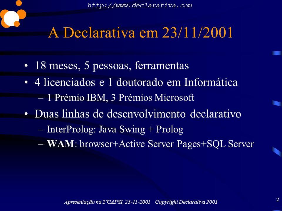 http://www.declarativa.com Apresentação na 2ªCAPSI, 23-11-2001 Copyright Declarativa 2001 13 Conclusão Abordagem declarativa compensa –Não inventemos mais meta-modelos: SQL Server, Informix, Oracle têm meta-informação q.b.
