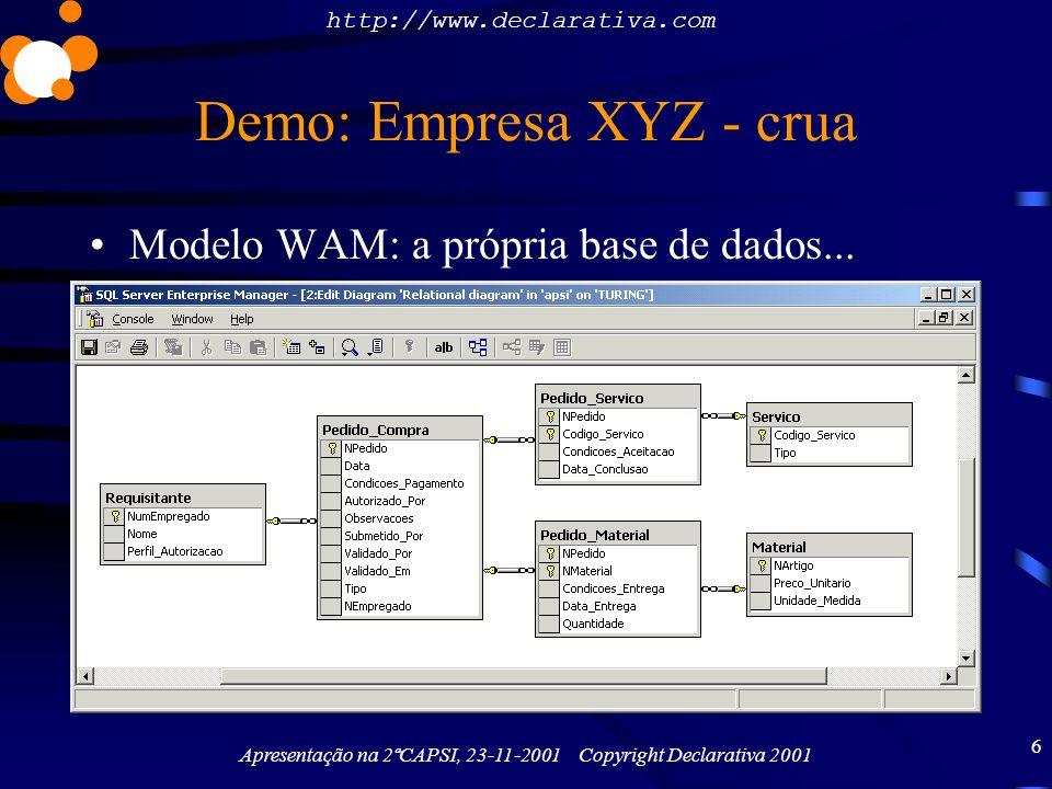 http://www.declarativa.com Apresentação na 2ªCAPSI, 23-11-2001 Copyright Declarativa 2001 7 Demo: Empresa XYZ – temperada Modelo WAM: a própria base de dados......mais tabelas WAMmodel –Linguística multi-língua –Quais as listas de master-detail e lookups a mostrar –Quais as stored procedures e ASPs externas a invocar