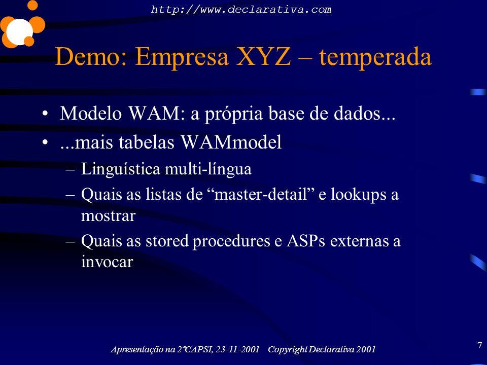 http://www.declarativa.com Apresentação na 2ªCAPSI, 23-11-2001 Copyright Declarativa 2001 7 Demo: Empresa XYZ – temperada Modelo WAM: a própria base d