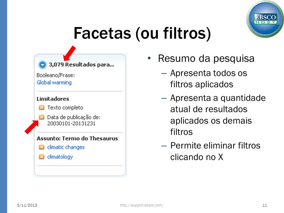 Facetas (ou filtros) http://support.ebsco.com/5/11/201311 Resumo da pesquisa – Apresenta todos os filtros aplicados – Apresenta a quantidade atual de