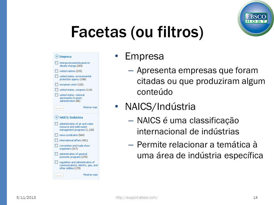 Facetas (ou filtros) http://support.ebsco.com/5/11/201314 Empresa – Apresenta empresas que foram citadas ou que produziram algum conteúdo NAICS/Indúst