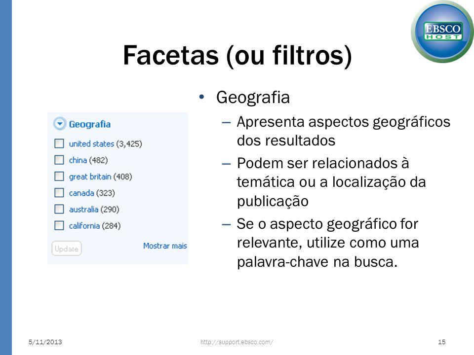 Facetas (ou filtros) http://support.ebsco.com/5/11/201315 Geografia – Apresenta aspectos geográficos dos resultados – Podem ser relacionados à temátic