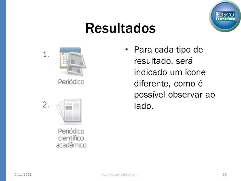 Resultados Para cada tipo de resultado, será indicado um ícone diferente, como é possível observar ao lado. http://support.ebsco.com/5/11/201320