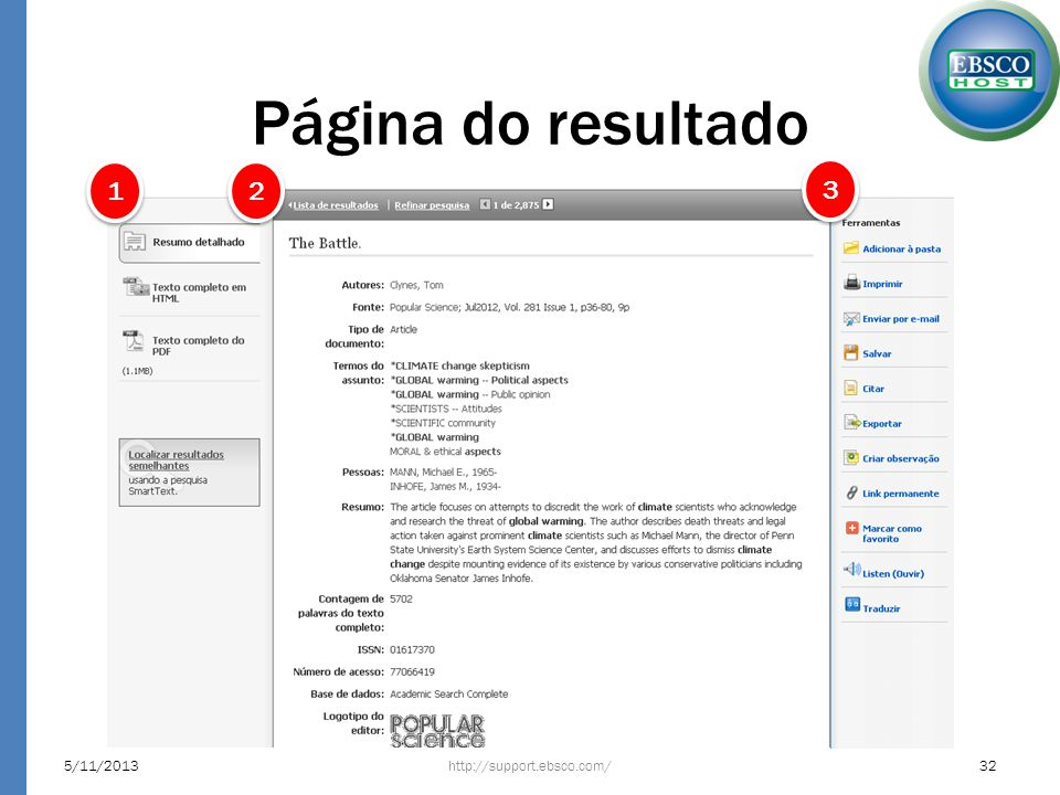 Página do resultado http://support.ebsco.com/5/11/201332 1 1 2 2 3 3