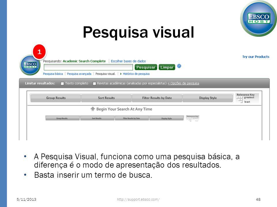 Pesquisa visual 5/11/2013http://support.ebsco.com/48 1 1 A Pesquisa Visual, funciona como uma pesquisa básica, a diferença é o modo de apresentação do