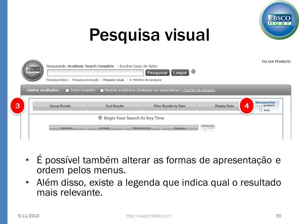 Pesquisa visual 5/11/2013http://support.ebsco.com/50 4 4 3 3 É possível também alterar as formas de apresentação e ordem pelos menus. Além disso, exis