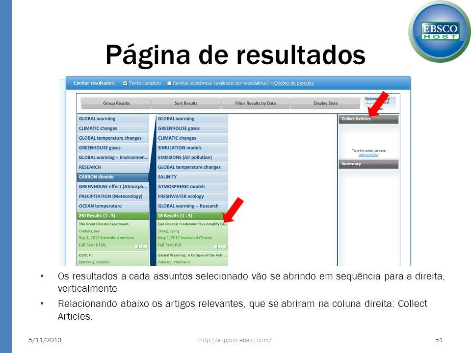 Página de resultados http://support.ebsco.com/5/11/201351 Os resultados a cada assuntos selecionado vão se abrindo em sequência para a direita, vertic