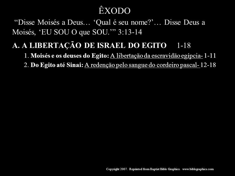 ÊXODO Disse Moisés a Deus… Qual é seu nome?… Disse Deus a Moisés, EU SOU O que SOU. 3:13-14 A. A LIBERTAÇÃO DE ISRAEL DO EGITO1-18 1. Moisés e os deus