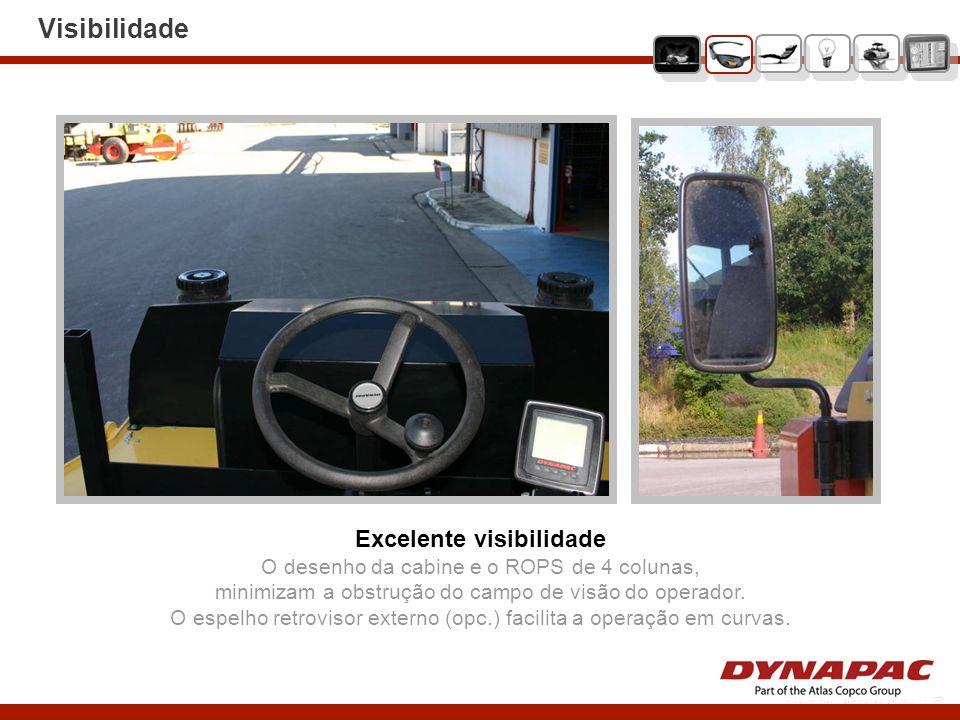 Visibilidade Excelente visibilidade O desenho da cabine e o ROPS de 4 colunas, minimizam a obstrução do campo de visão do operador. O espelho retrovis