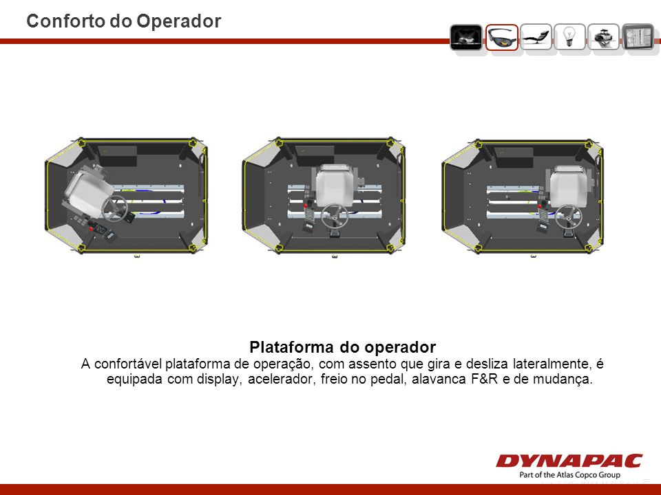 Conforto do Operador Plataforma do operador A confortável plataforma de operação, com assento que gira e desliza lateralmente, é equipada com display,