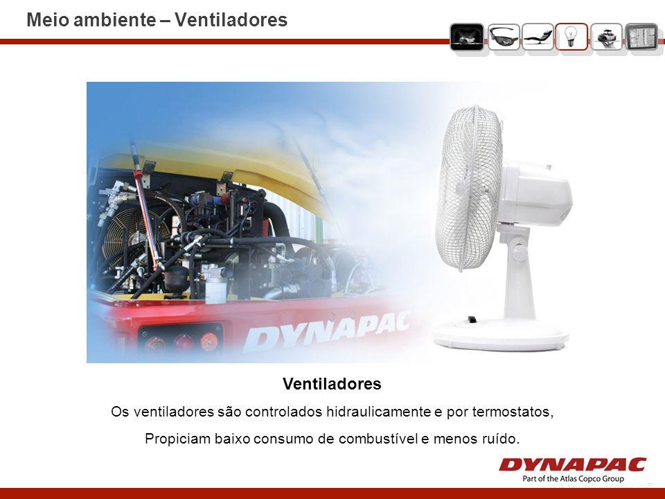 Meio ambiente – Ventiladores Ventiladores Os ventiladores são controlados hidraulicamente e por termostatos, Propiciam baixo consumo de combustível e