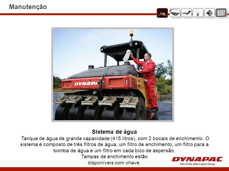Sistema de água Tanque de água de grande capacidade (415 litros), com 2 bocais de enchimento. O sistema é composto de três filtros de água, um filtro