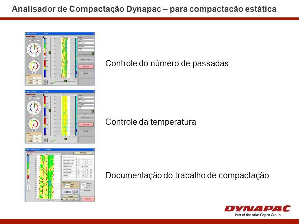 Analisador de Compactação Dynapac – para compactação estática Controle do número de passadas Controle da temperatura Documentação do trabalho de compa