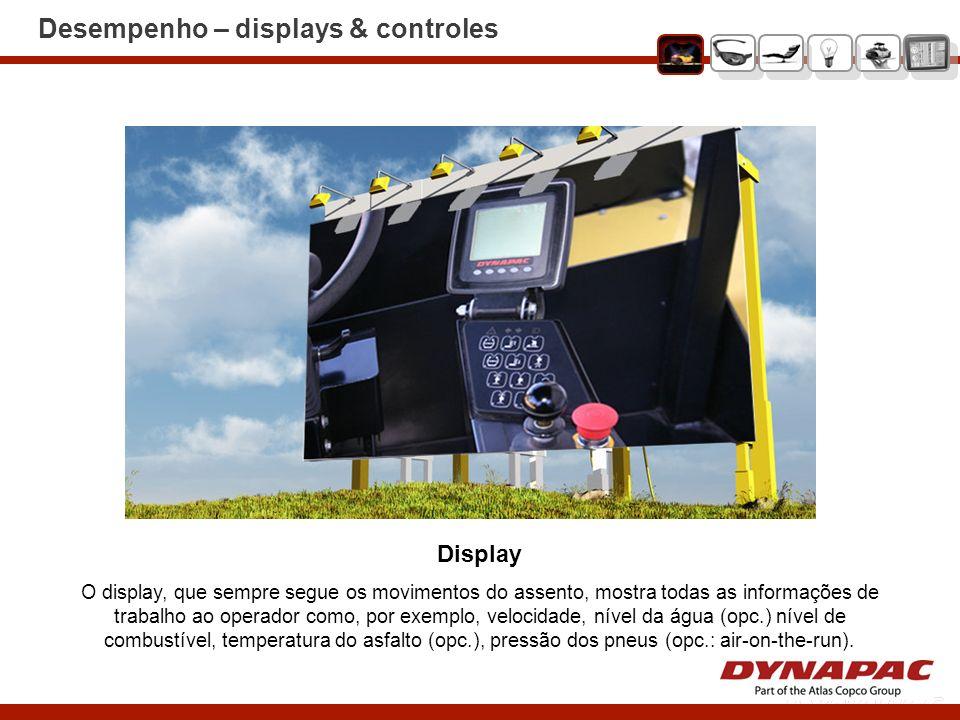 Desempenho – displays & controles Display O display, que sempre segue os movimentos do assento, mostra todas as informações de trabalho ao operador co