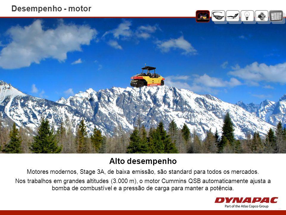Alto desempenho Motores modernos, Stage 3A, de baixa emissão, são standard para todos os mercados. Nos trabalhos em grandes altitudes (3.000 m), o mot