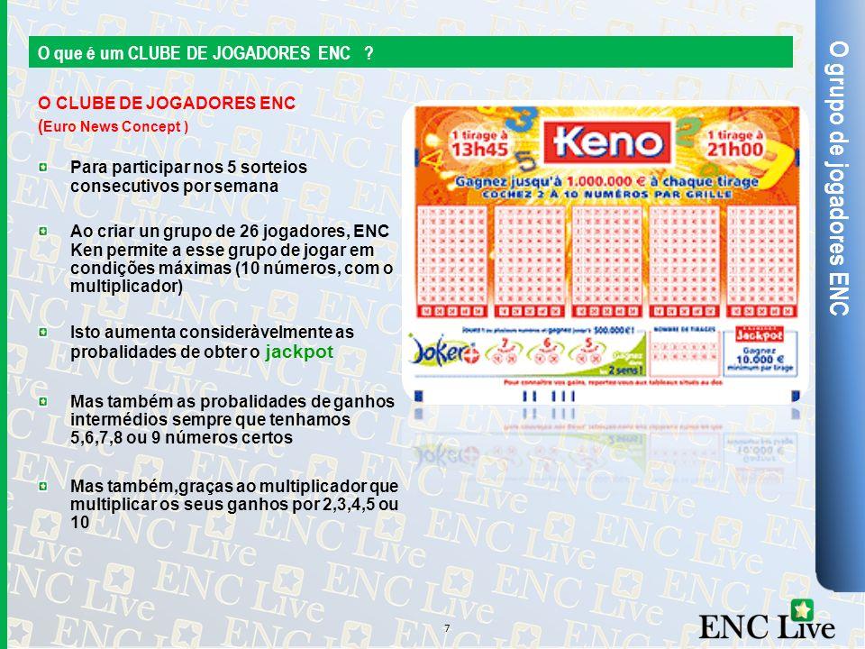 O grupo de jogadores ENC O que é um CLUBE DE JOGADORES ENC ? O CLUBE DE JOGADORES ENC ( Euro News Concept ) Para participar nos 5 sorteios consecutivo