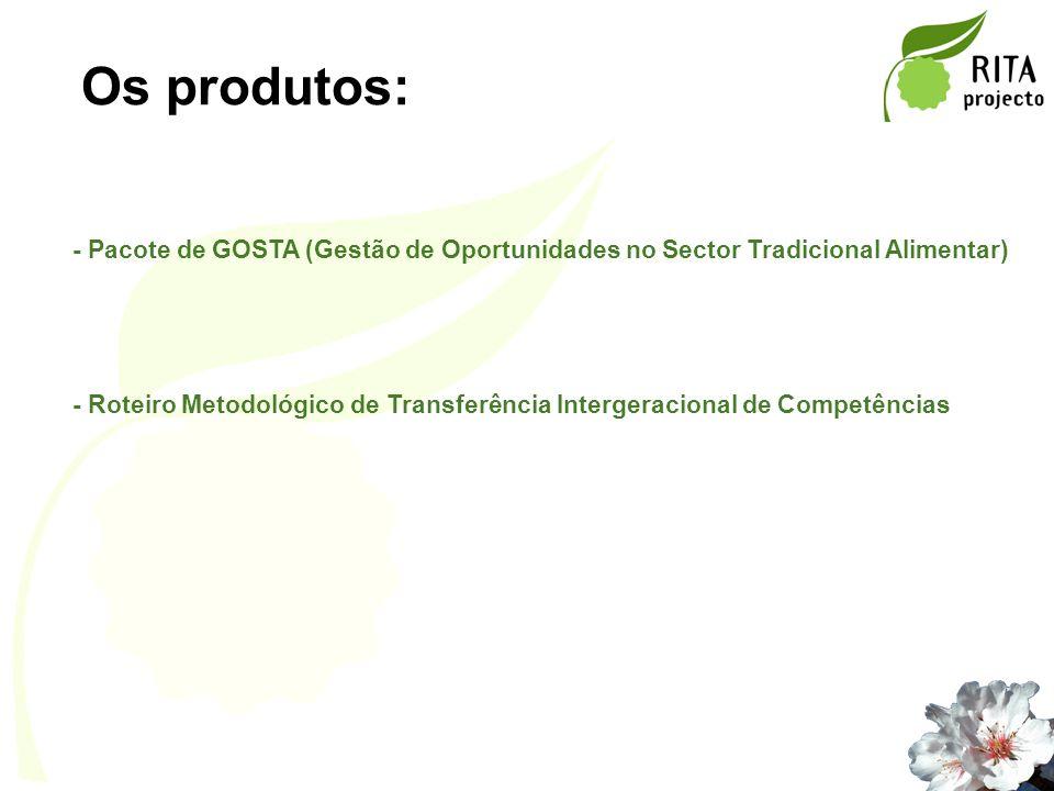 Os produtos: - Pacote de GOSTA (Gestão de Oportunidades no Sector Tradicional Alimentar) - Roteiro Metodológico de Transferência Intergeracional de Co