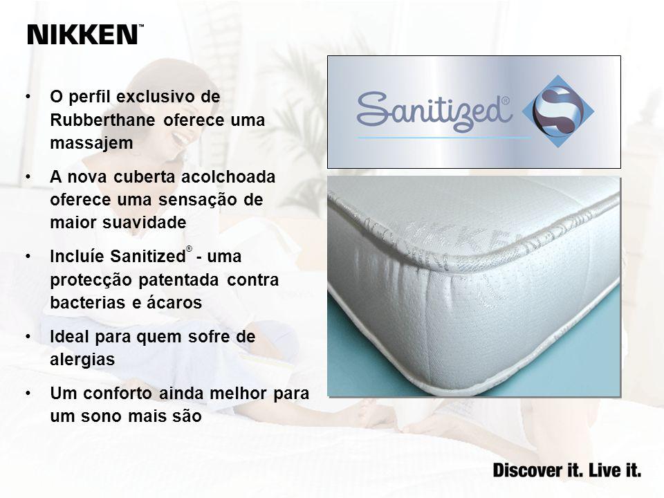 O perfil exclusivo de Rubberthane oferece uma massajem A nova cuberta acolchoada oferece uma sensação de maior suavidade Incluíe Sanitized ® - uma pro