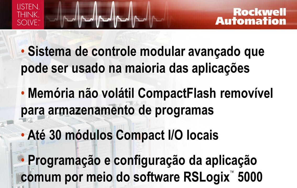 Sistema de controle modular avançado que pode ser usado na maioria das aplicações Memória não volátil CompactFlash removível para armazenamento de pro