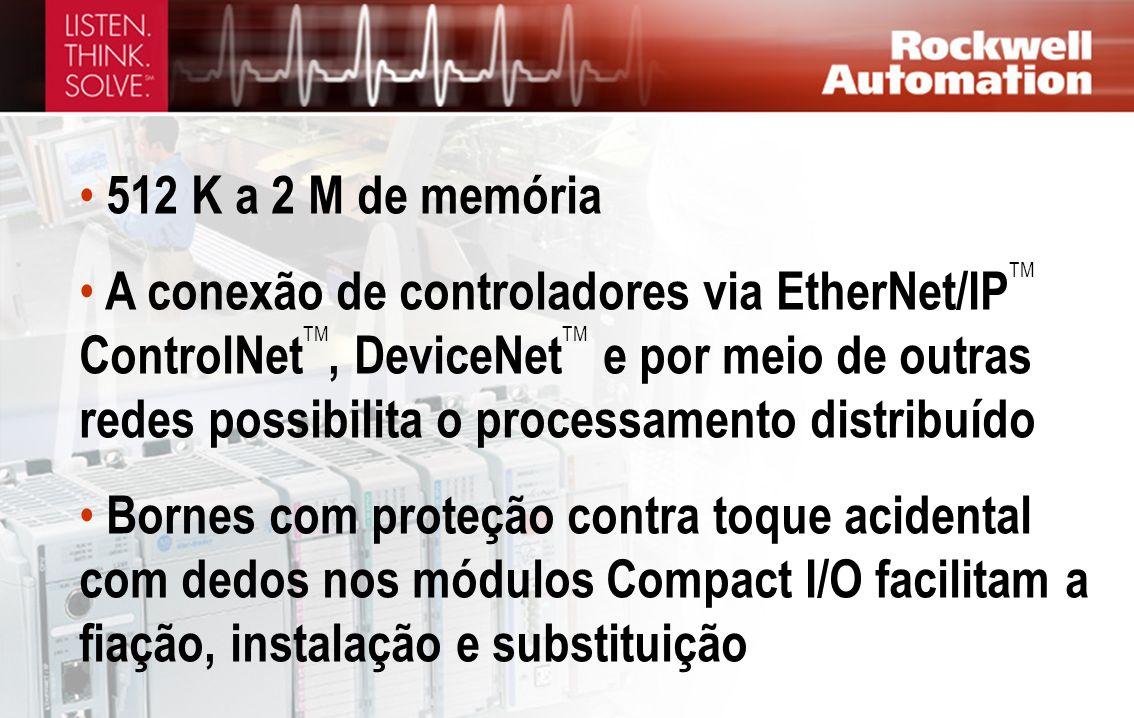 512 K a 2 M de memória A conexão de controladores via EtherNet/IP TM ControlNet TM, DeviceNet TM e por meio de outras redes possibilita o processament
