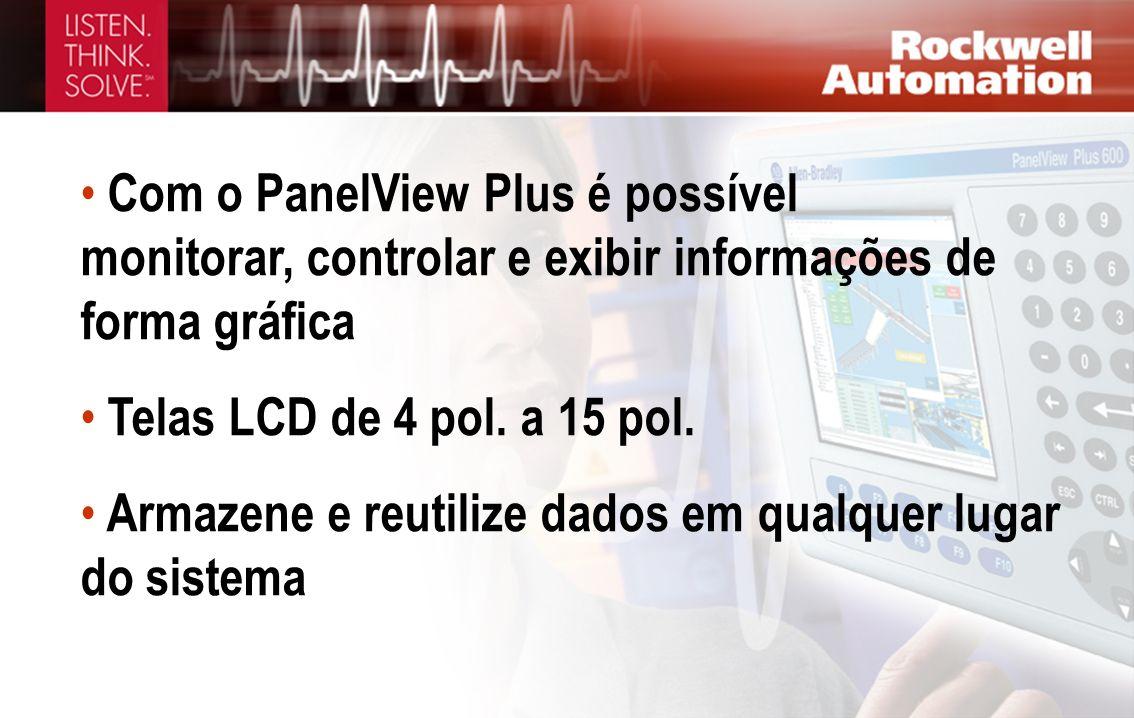Com o PanelView Plus é possível monitorar, controlar e exibir informações de forma gráfica Telas LCD de 4 pol. a 15 pol. Armazene e reutilize dados em
