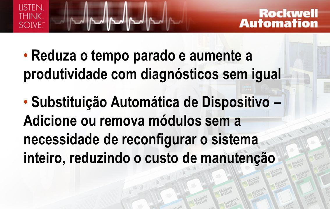 Reduza o tempo parado e aumente a produtividade com diagnósticos sem igual Substituição Automática de Dispositivo – Adicione ou remova módulos sem a n