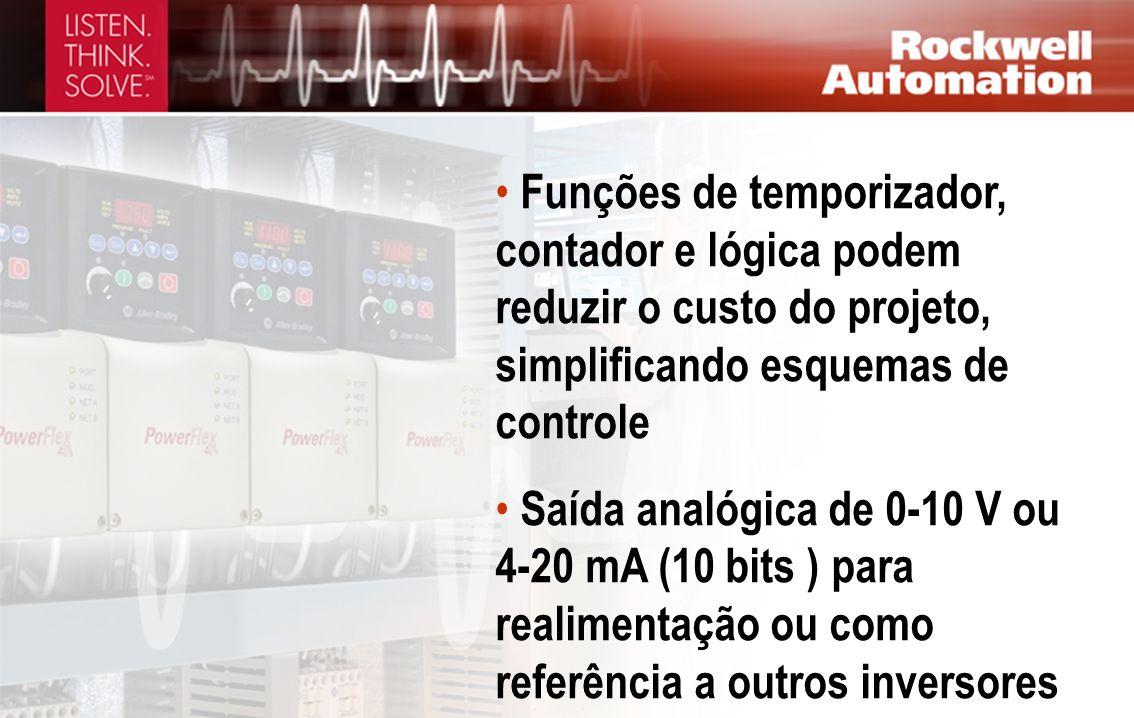 Funções de temporizador, contador e lógica podem reduzir o custo do projeto, simplificando esquemas de controle Saída analógica de 0-10 V ou 4-20 mA (
