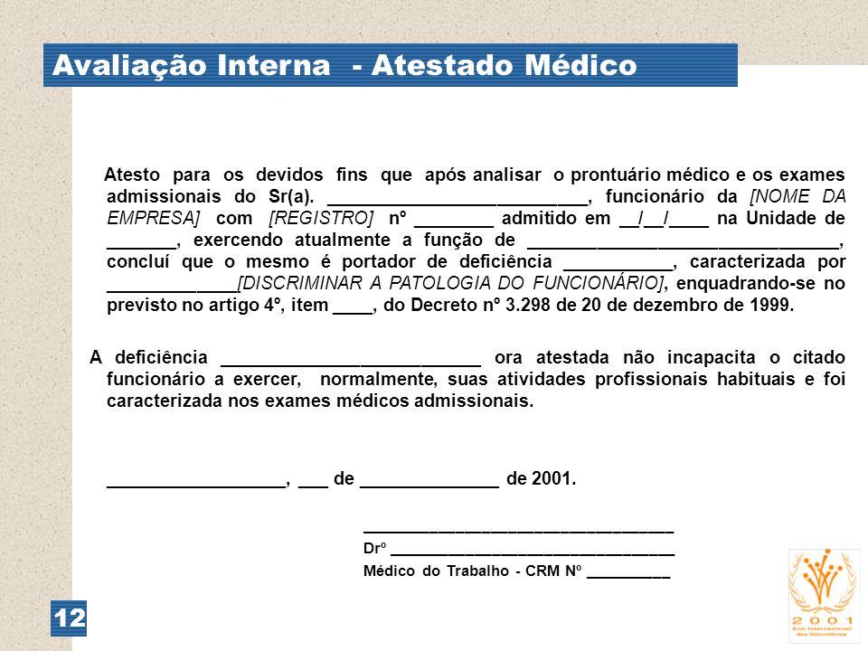 Avaliação Interna - Atestado Médico 12 Atesto para os devidos fins que após analisar o prontuário médico e os exames admissionais do Sr(a). __________