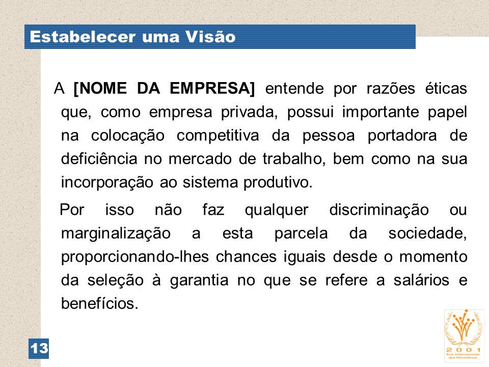 Estabelecer uma Visão 13 A [NOME DA EMPRESA] entende por razões éticas que, como empresa privada, possui importante papel na colocação competitiva da