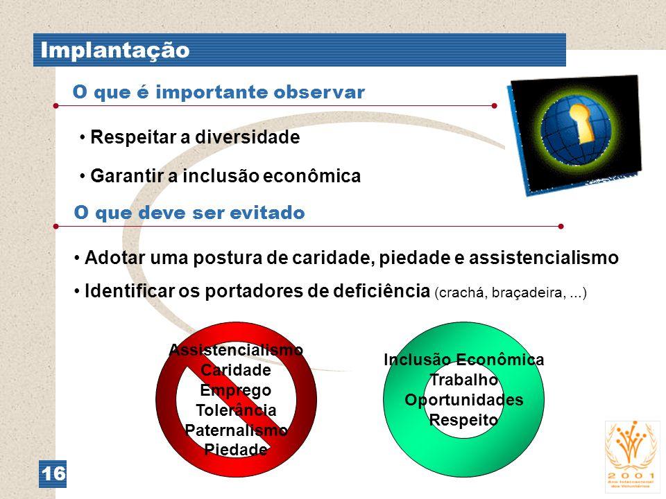 Implantação 16 O que é importante observar Respeitar a diversidade Garantir a inclusão econômica O que deve ser evitado Adotar uma postura de caridade