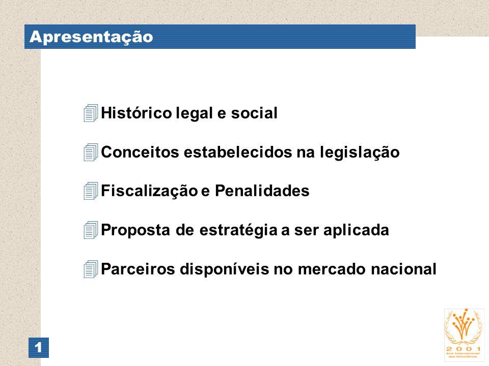 Apresentação 1 4 Histórico legal e social 4 Conceitos estabelecidos na legislação 4 Fiscalização e Penalidades 4 Proposta de estratégia a ser aplicada