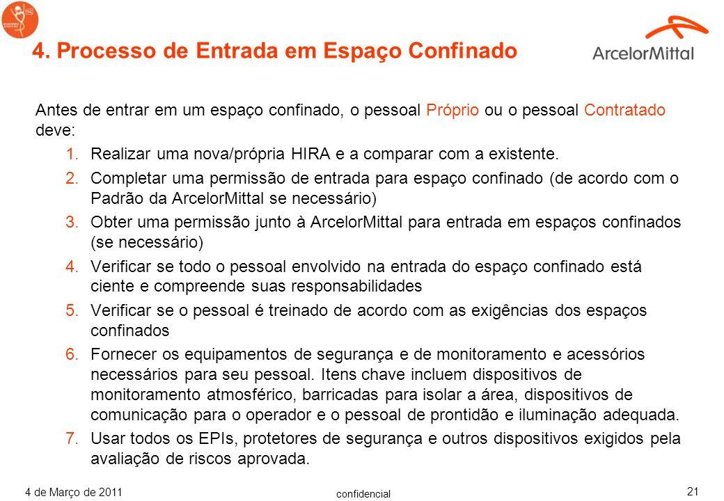 confidencial 4 de Março de 2011 20 3.8 Pessoa de Prontidão Fique sempre do lado de fora de um Espaço Confinado ou até ser liberado por outra Pessoa de