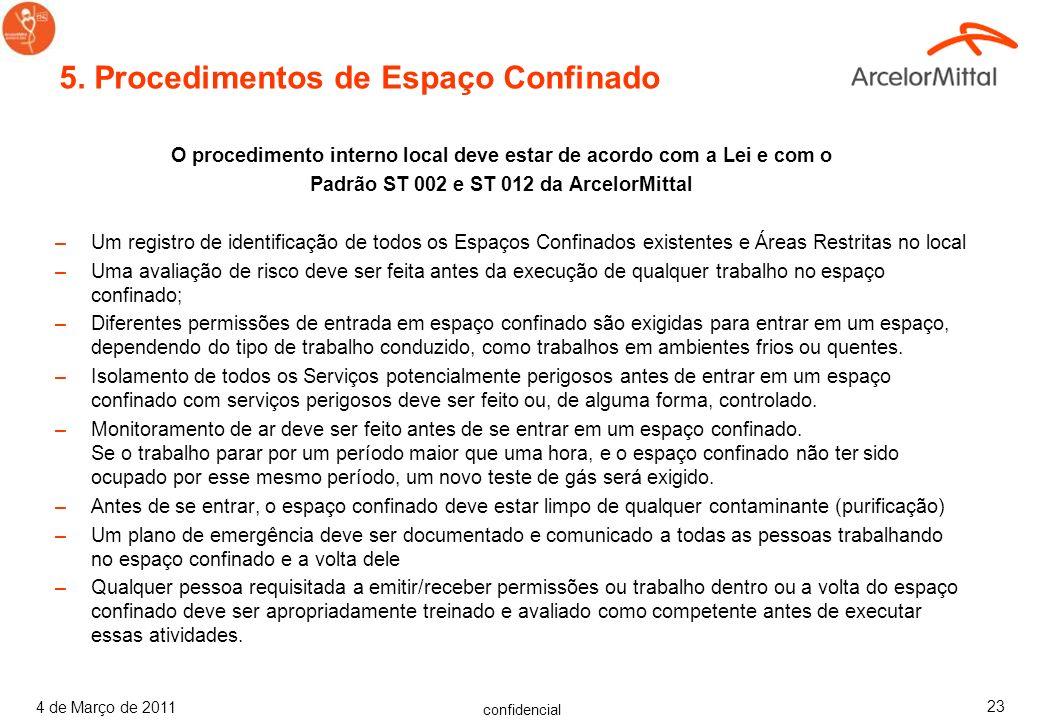 confidencial 4 de Março de 2011 22 4.1 Sistema de Permissão –O processo de autorização deve incluir os seguintes elementos: Uma Análise de Risco, incl