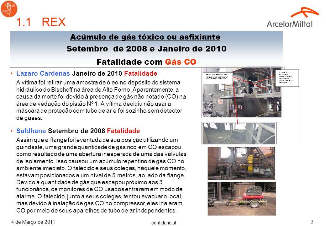 confidencial 4 de Março de 2011 3 1.1 REX Lazaro Cardenas Janeiro de 2010 Fatalidade A vítima foi retirar uma amostra de óleo no depósito do sistema hidráulico do Bischoff na área de Alto Forno.