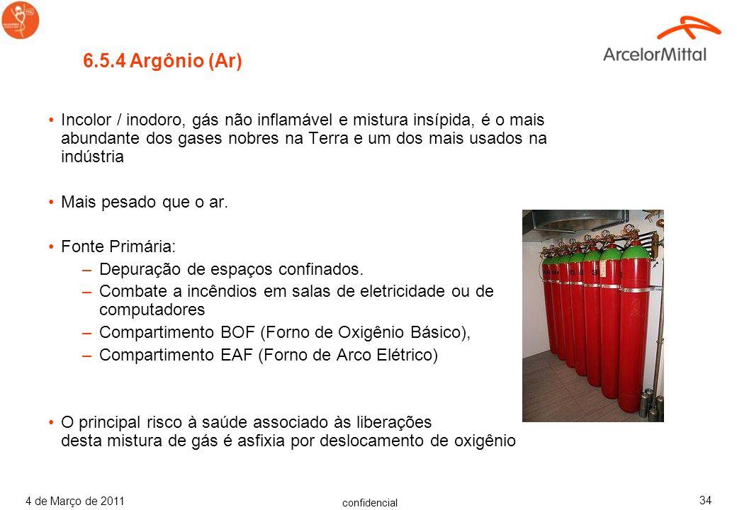 confidencial 4 de Março de 2011 33 6.5.3 Metano (CH 4 ) Gás inflamável incolor/inodoro, ou aromatizado Gás natural, gás do pântano. Fonte Primária: –D