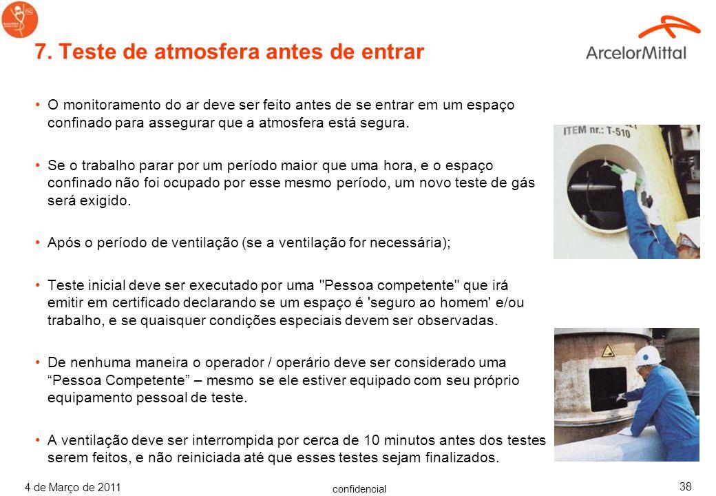 confidencial 4 de Março de 2011 37 Antes de uma pessoa entrar em um espaço confinado, deve ser assegurado que; –a concentração de contaminantes inflam