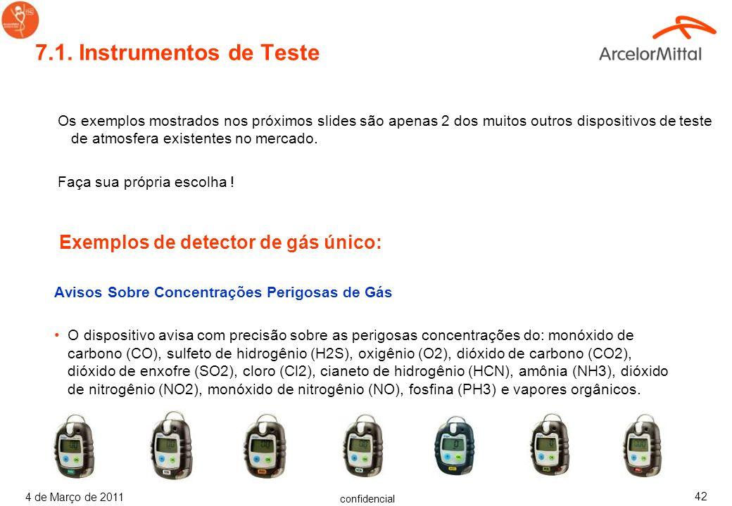 confidencial 4 de Março de 2011 41 Veja alguns exemplos de Gravidade Específica ( kg/m 3 ) de Gases.