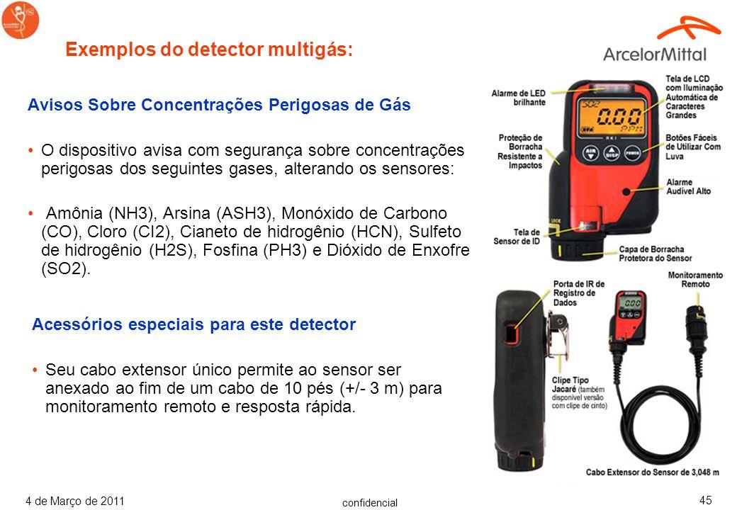 confidencial 4 de Março de 2011 44 Avisos Sobre Concentrações Perigosas de Gás Esse Monitor de Gás Portátil detectar gases de Monóxido de Carbono (CO)