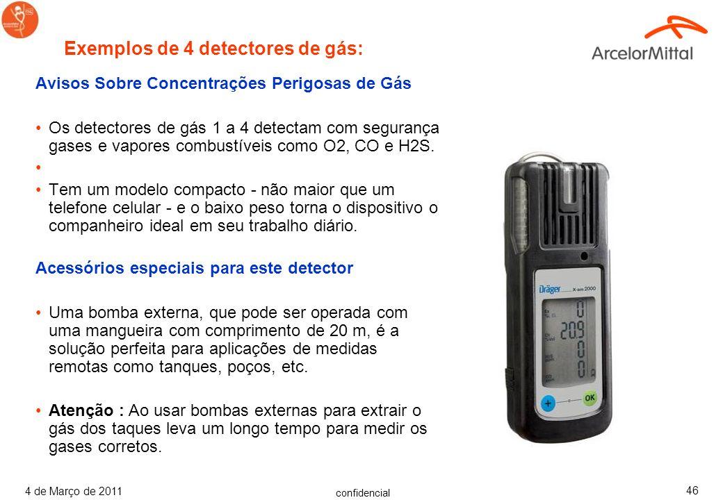 confidencial 4 de Março de 2011 45 Avisos Sobre Concentrações Perigosas de Gás O dispositivo avisa com segurança sobre concentrações perigosas dos seg