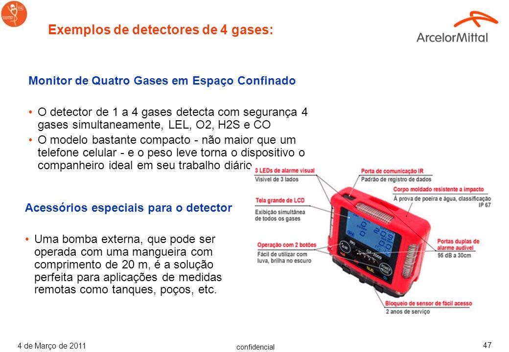 confidencial 4 de Março de 2011 46 Avisos Sobre Concentrações Perigosas de Gás Os detectores de gás 1 a 4 detectam com segurança gases e vapores combu
