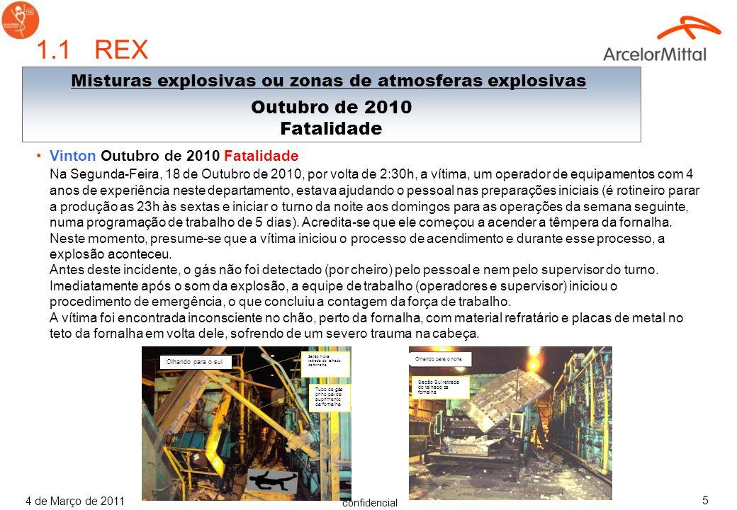 confidencial 4 de Março de 2011 75 Questionário do Espaço Confinado 4) Quais são exemplos de perigos do espaço autorizado.