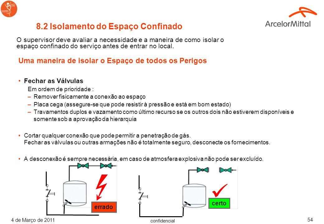 confidencial 4 de Março de 2011 53 Respiradores devem ser usados em atmosferas com deficiência de oxigênio ou quando toxinas são capazes de causar mor