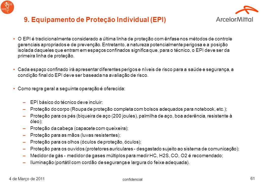 confidencial 4 de Março de 2011 60 O plano detalhado para resposta de emergência para ferimentos ou outra emergência dentro do espaço confinado deve s