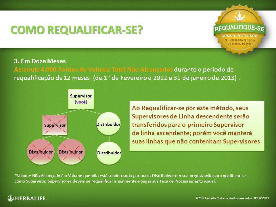 3. Em Doze Meses Acumule 4.000 Pontos de Volume Total Não Alcançados durante o período de requalificação de 12 meses (de 1° de Fevereiro e 2012 a 31 d