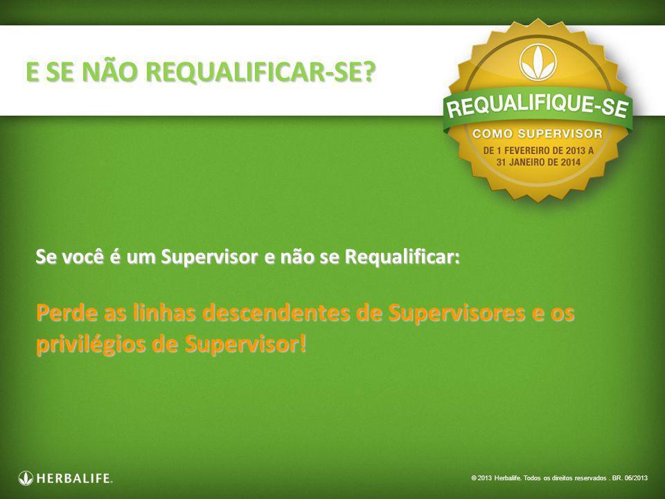 Se você é um Supervisor e não se Requalificar: Perde as linhas descendentes de Supervisores e os privilégios de Supervisor! E SE NÃO REQUALIFICAR-SE?