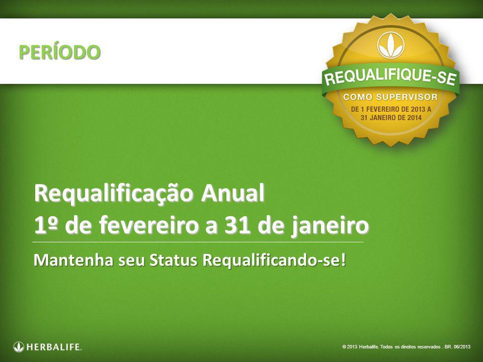 Mantenha seu Status Requalificando-se! PERÍODO Requalificação Anual 1º de fevereiro a 31 de janeiro © 2013 Herbalife. Todos os direitos reservados. BR