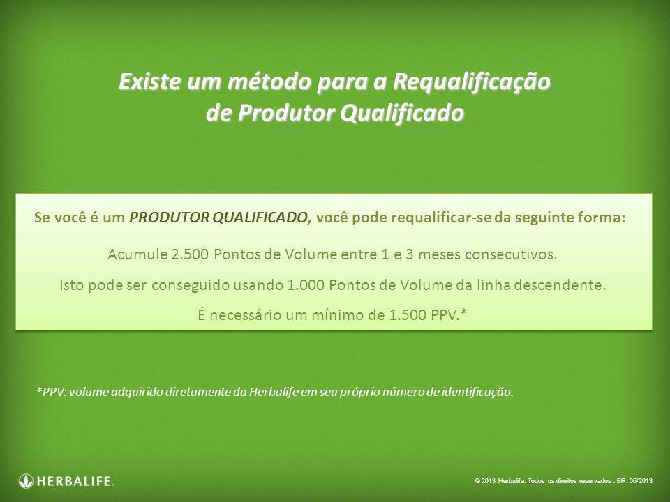 Existe um método para a Requalificação de Produtor Qualificado Acumule 2.500 Pontos de Volume entre 1 e 3 meses consecutivos. Isto pode ser conseguido