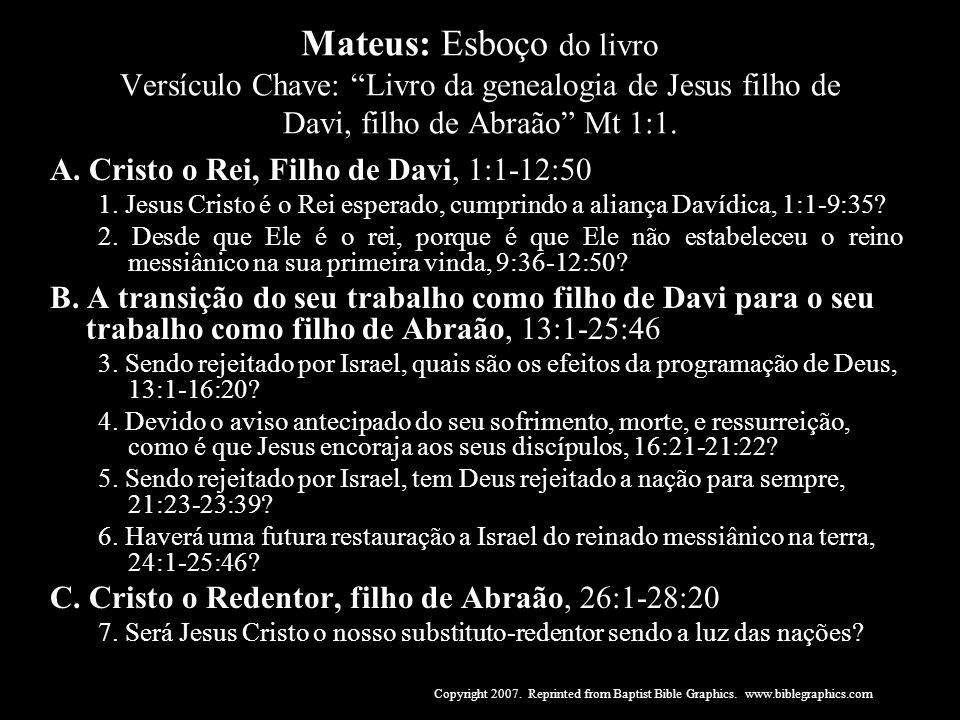 Mateus: Esboço do livro Versículo Chave: Livro da genealogia de Jesus filho de Davi, filho de Abraão Mt 1:1. A. Cristo o Rei, Filho de Davi, 1:1-12:50